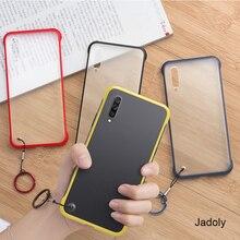 Frameless Transparent Matte Hard Phone Case For Samsung A70 A50 A30 A20 A60 A80 With Ring Lanyard