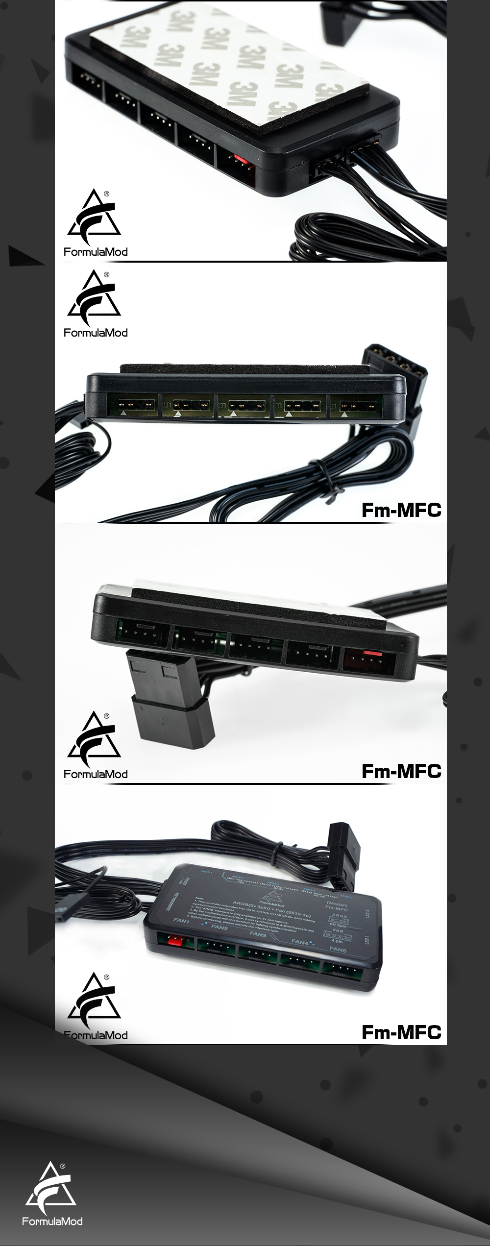 FormulaMod Fm-MFC Sync Controller For ARGB(5v 3pin) Lighting & Fan(2510-4pin) Power/PWM, Hub For Connecting/Sync To Motherboard