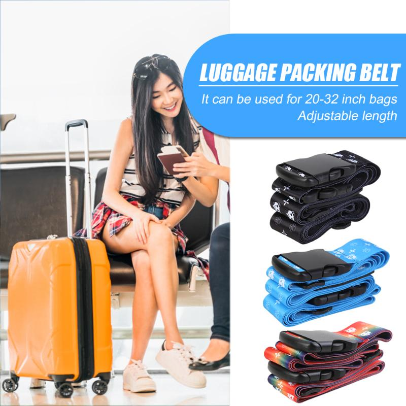 Luggage Strap Cross Belt Adjustable Heavy Duty Packing Baggage Buckle Belt For Suitcase Outdoor Travel Supplies