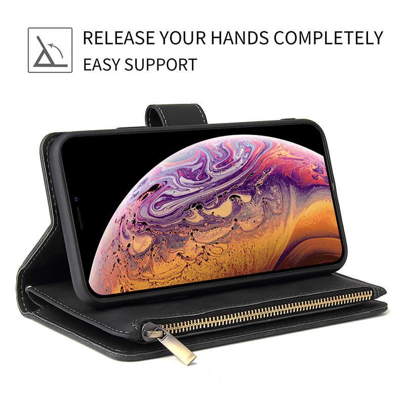 حافظة هاتف جلدية بسحاب لهاتف آيفون X XR XS Max 8 7 6 6S Plus حافظة لهاتف آيفون 11 برو ماكس SE 2020