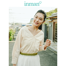 INMAN  Clear Linen V neck Literary Drop shoulder Sleeve Women Blouse