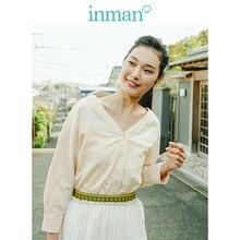 Inman claro linho com decote em v literária manga de ombro blusa feminina