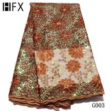 HFX новейшая винно Красная Блестящая кружевная ткань высокого качества нигерийские кружевные ткани с блестками африканский тюль сетка кружева для свадьбы F2741