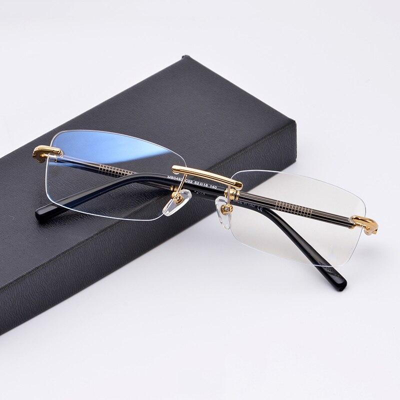 Marque Designer sans monture lunettes cadre hommes Vintage rétro sans cadre clair optique lunettes myopie montures de lunettes lunettes Oculos