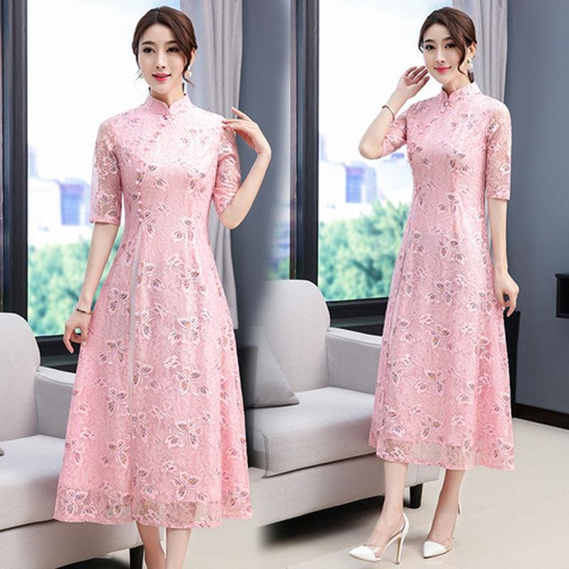 Vietnam Ao Dai Dress For Woman Vintage Oriental Chinese Qipao Cheongsams Tight Bodycon Lace Embroidery Wedding Aodai Clothing