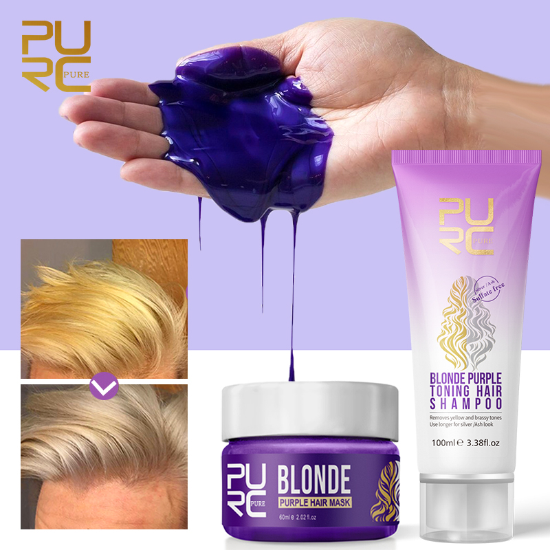 2PCS/Set Purple Shampoo Restore Brass Off Strength Conditioning Hair Care No Yellow Mask for Blonde Hair Color Treatment
