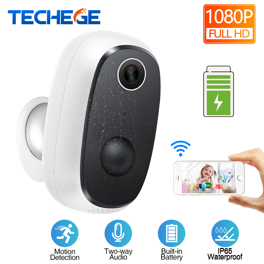 Techege HD 1080P Wireless Rechargeable Battery Powered WiFi Camera Waterproof PIR Motion Detection 2 Way Audio Cloud Storage
