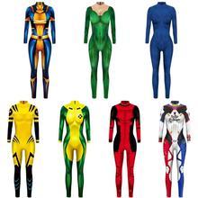 X-MEN Raven Darkholme Mystique Cosplay Costume 3D Print Cheap Xmen Superhero Halloween Zentai Suit for Adults