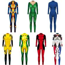 X-MEN Corbeau Darkholme Mystique Cosplay Costume 3D Impression Pas Cher Xmen Super-Héros D'halloween Zentai Costume pour Adultes