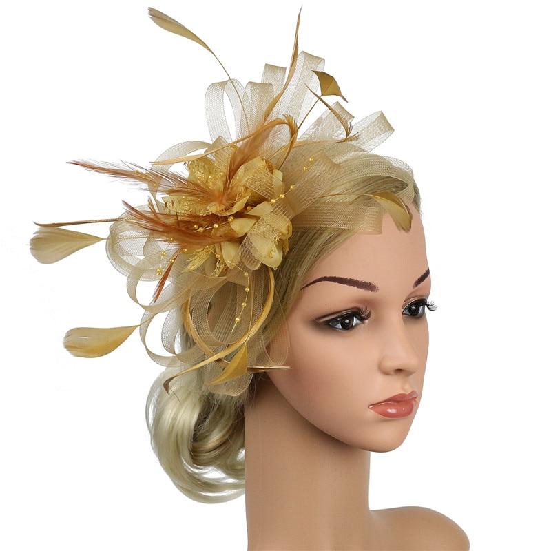Banquet Feather Hair Pins Headdress Wedding Party Bridal Tiara Women Fascinators Clip Ladies Accessory Wedding Women Head Band