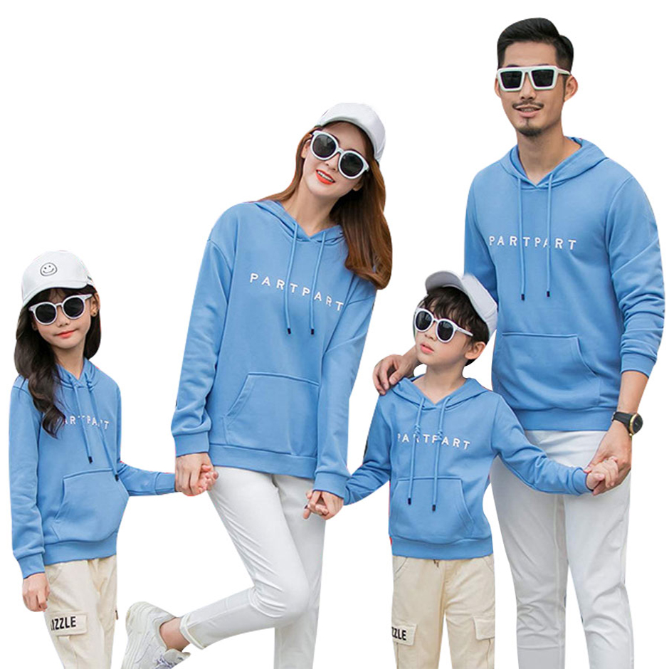 Hooded Alphabet Long Sleeve Sweater Series Parent-child Family Clothing Round Neck Style Family Clothing