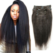 Coarse Grained Kinky Straight Clip In Hair Momgolian Remy Human  Hair Extensions Full Head Set 9pcs for African Americans Women