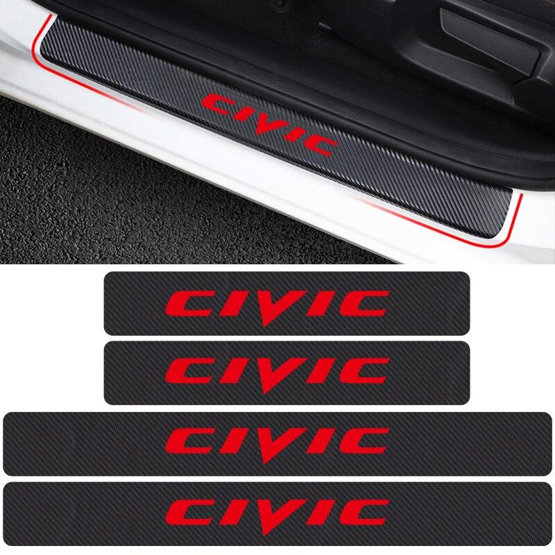 4PCs Door Threshold Guard For Honda Civic Car Door Sill Scuff Plate Protector Carbon Fiber Vinyl Sticker Car Accessories