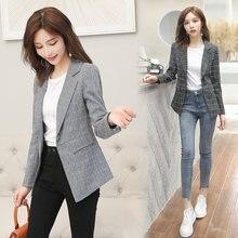 Женский винтажный Блейзер на одной пуговице офисный пиджак с