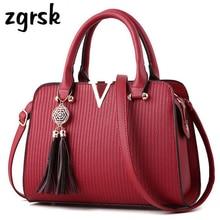 Ladies Female Shoulder Bags Famous Brand Tassel Handbag Large Pu Leather Purses And Handbags Black Casual Bag