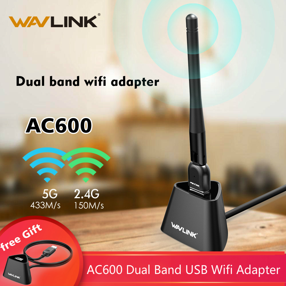 Wavlink USB WIFI Adapter 5Ghz Wi-fi Dongle 600mbps With Dock Wifi Antenna Long Range Ethernet For Laptop PC TV Wireless Receiver