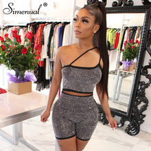 Simenual Sequin Sexy Hot Glitter Party Rompers Women Strap Sleeveless Clubwear Playsuits Fashion Skinny Cut Out Zipper Playsuit