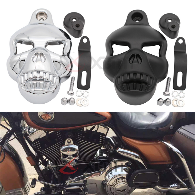 Motorcycle Skull Head Horn Cover Speaker fits for Harley Davidson Street Glide