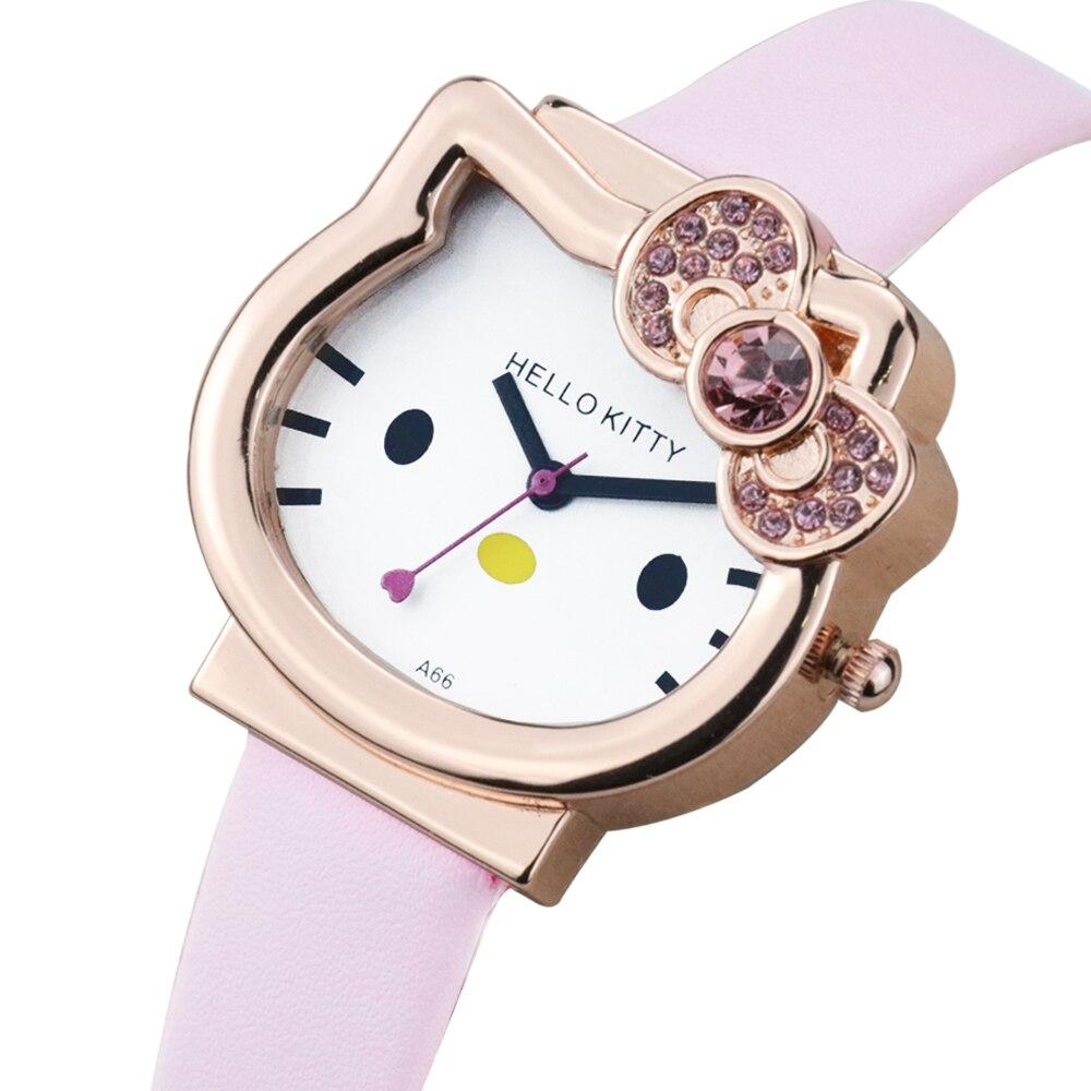 Новый прекрасный мультфильм дети часы нержавеющая сталь сетка ремень часы красочные дети часы лучший подарок KT кошка