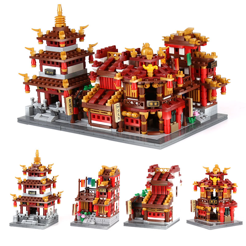 DHL 01102 中国ビルディングストリートおもちゃ茶屋ライブラリ布家望江タワーセットビルディングブロックレンガ子供のおもちゃ  グループ上の おもちゃ & ホビー からの ブロック の中 1