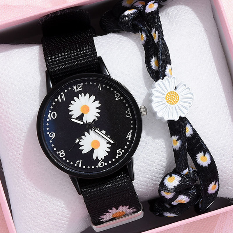 Girl Luxury Watch Women New Fashion Embossed Flowers Small Fresh Printed Belt Dial Watch Female Student Quartz Watch Relogio