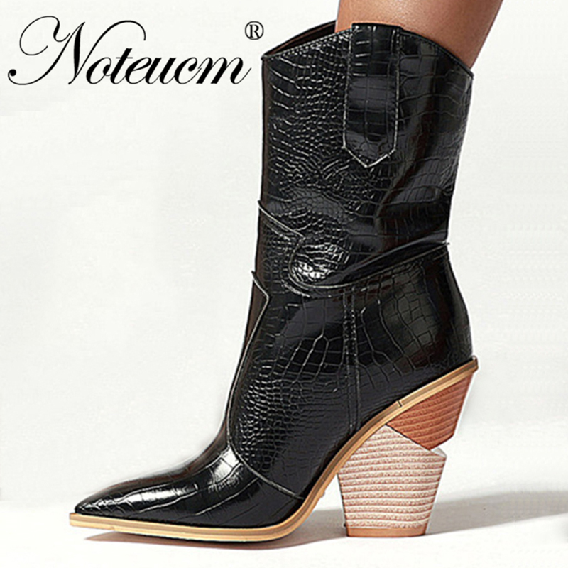 Female Western Cowboy Boot Snake pattern Faux Leather High Heel Cowgirl Ankle botas Cossacks Wedge country Shoe for winter Women