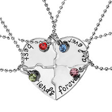 Melhor amigo 4 peça conjunto de homens e mulheres colar bff colar feminino amor amizade pingente moda jóias presente 2020