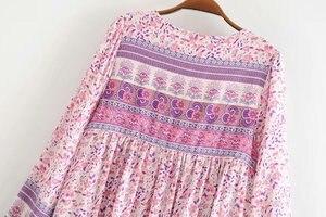 Image 5 - Винтажное шикарное женское розовое платье с цветочным принтом, длинным рукавом, бахромой и оборками, Пляжное богемное мини платье, женское свободное платье бохо из вискозы с V образным вырезом