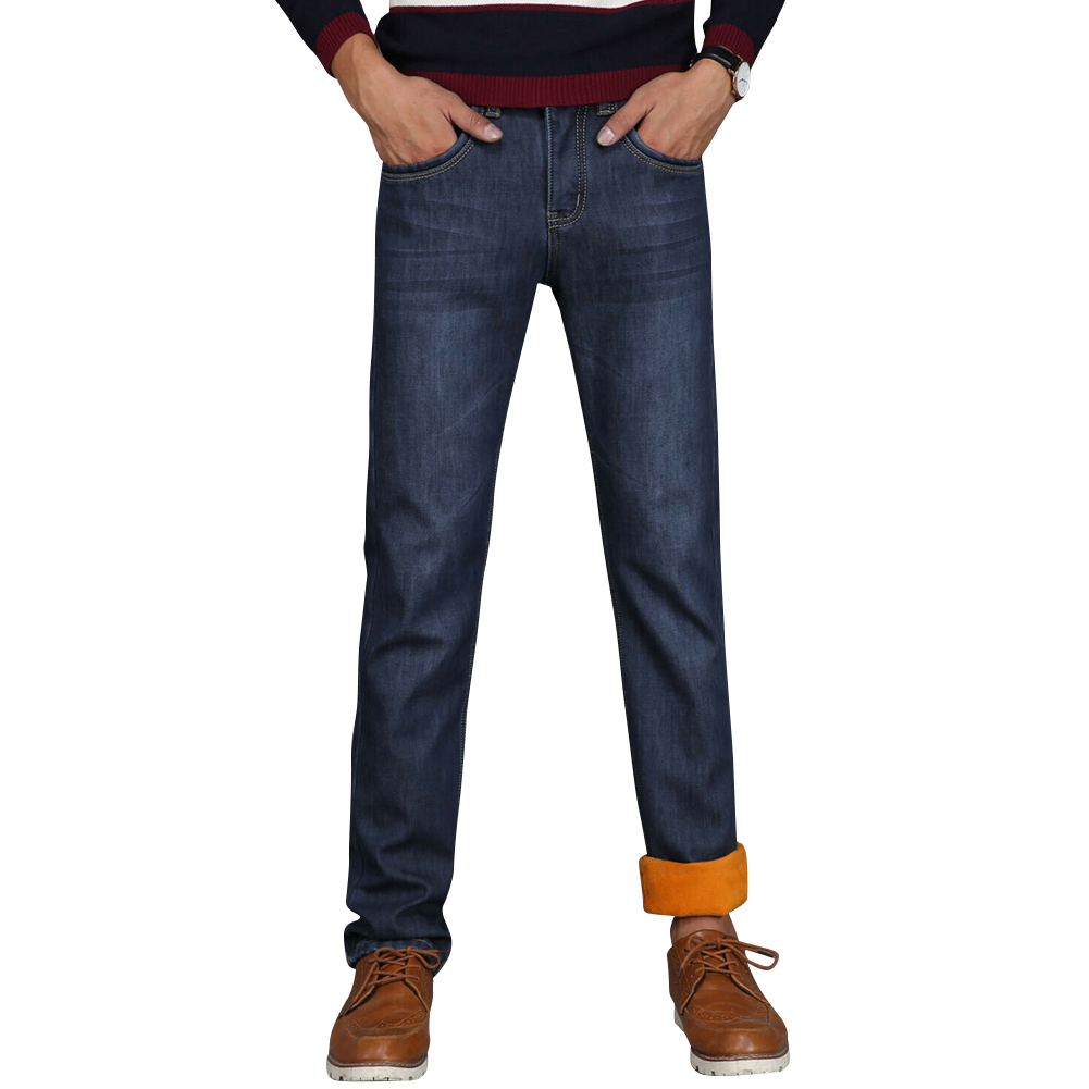 Men Winter Thermal Jeans Fleeced Lined Denim Long Pants Casual Warm Trousers For Office Travel -MX8