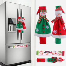 Christmas decorations european-style flannelette refrigerator gloves cartoon snowman oven cover