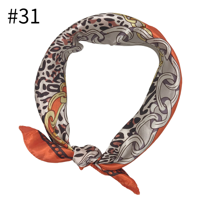 1 pcs Square Scarf Hair Tie Band For Business Party Women Elegant Small Vintage Skinny Retro Head Neck Silk Satin Print scarf