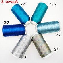 Sanbest 3 vertentes fio de tecelagem metálica artesanal diy pulseira fio de ponto de corda fios tecer cor rosa + - 153