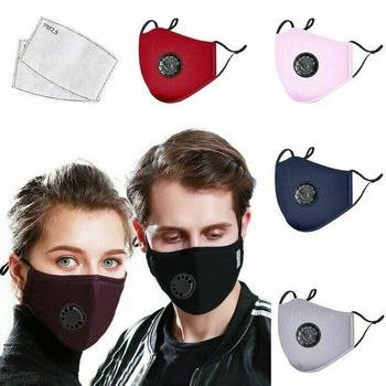Cotton Face Mask PM 2.5 Mouth Mask Activated Carbon Mask With Filter-Washable Reusable With 2pcs Filter Pads