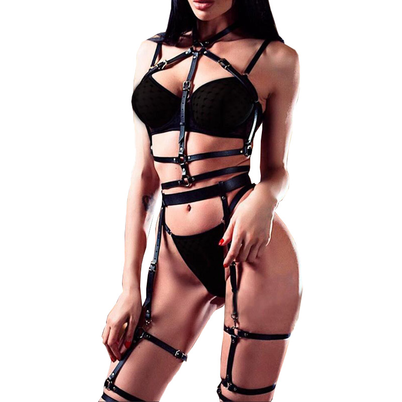 2020 Fashion Leather Harness Belt Body Bondage Garter Punk Dark Rock Adjustable Buckle Garter Waistband  Chest Stocking Belt