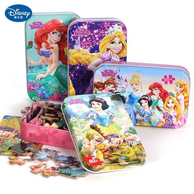 Disney 60 Piece Princess Frozen Wooden Box Puzzle Early Education Children Bottom Box Puzzle Birthday Toys Intelligence Puzzle 1