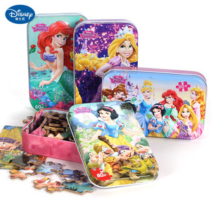 Disney 60 Piece Princess Frozen Wooden Box Puzzle Early Education Children Bottom Box Puzzle Birthday Toys Intelligence Puzzle