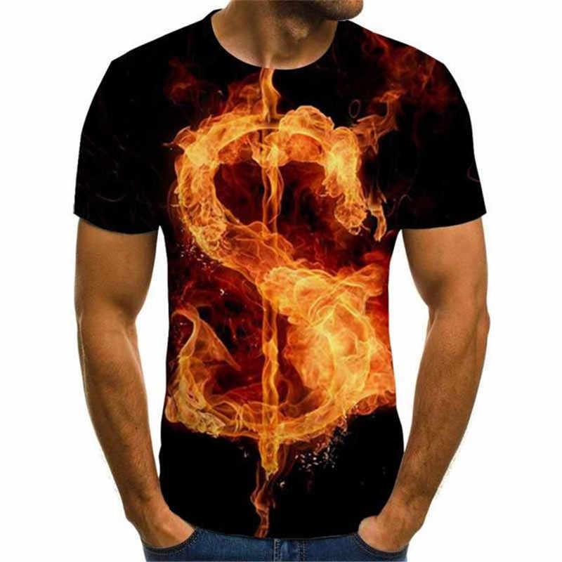 3D Red Flames Stampato Maglietta Degli Uomini di Estate Delle Donne Casual Manica Corta Hip Hop Abbigliamento Fiamma Di Moda T-shirt Con Stampa di Estate magliette e camicette