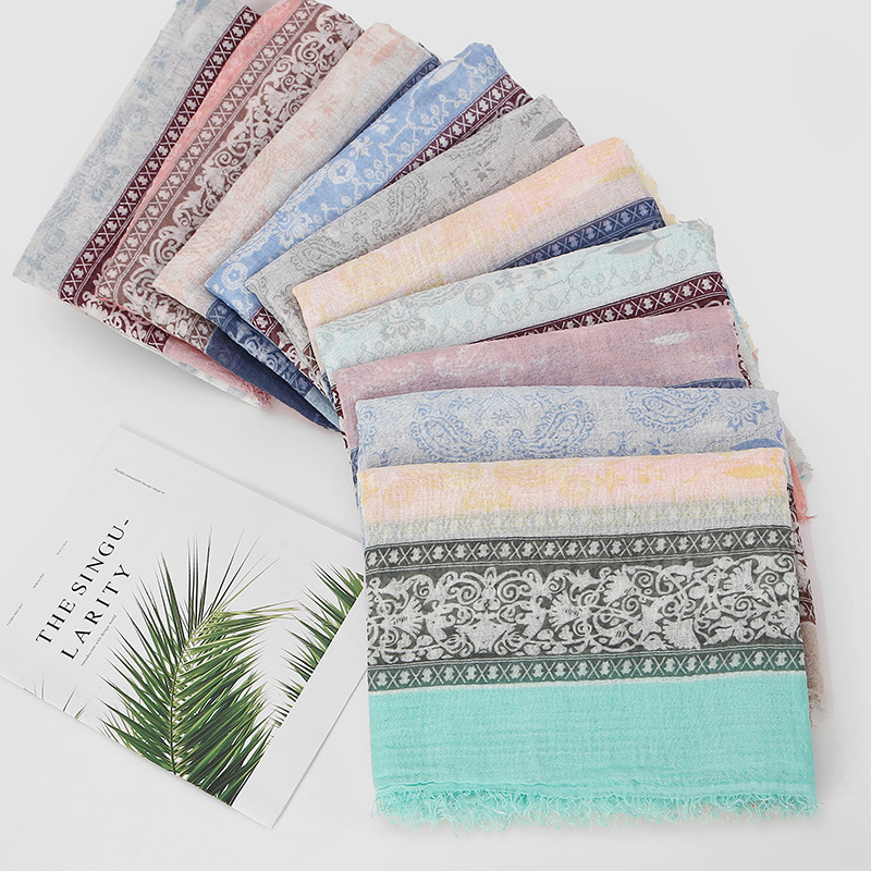 2020 New Designer Boho Ethnic Floral Printing Cotton Tassel Fringe Scarf Shawl Stole Women Ladies Long Cotton Headband Scarves
