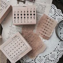 Vintage Moon Week Month calendar stamp DIY wooden rubber stamps for scrapbooking stationery scrapbooking standard stamp(China)