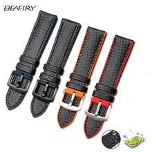 BEAFIRY 18mm 20mm 22mm 24mm orange Stiksels Carbon + siliconen Zwart Lederen rode blauw orange Horloge Band Strap sport