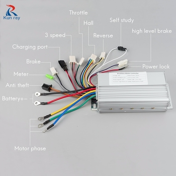 YK89S 36V/48V 500W 26A Brushless DC Motor Controller Electric Bike Scooter E-Car Tricycle Part 120 Degree With Hall Reverse image