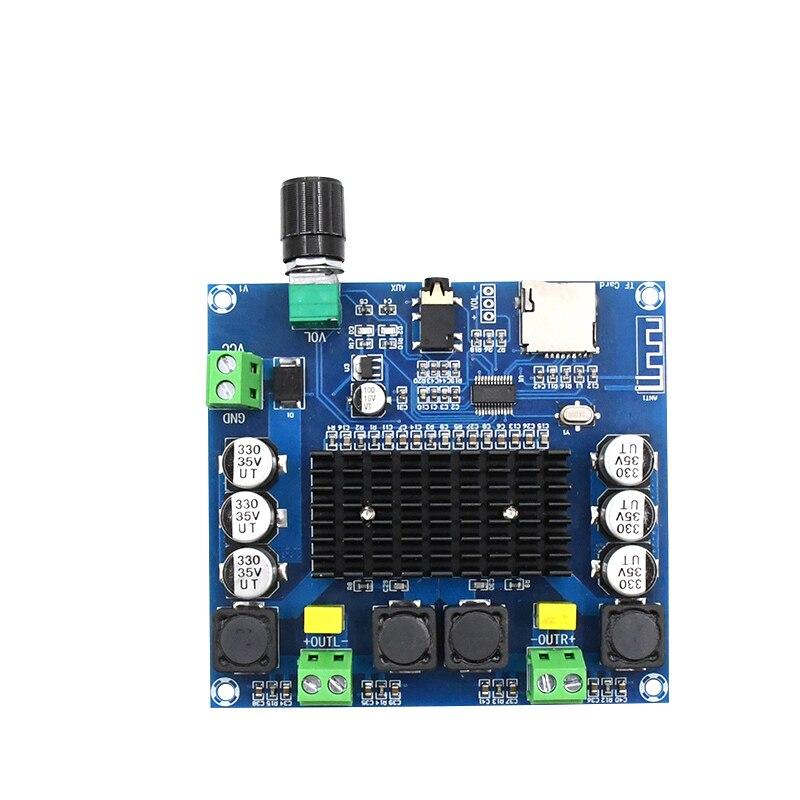 Цифровой Bluetooth 5,0 усилитель мощности плата поддержка AUX Встроенный потенциометр TDA7498 streo 100 Вт + 100 Вт усилитель XH-A105