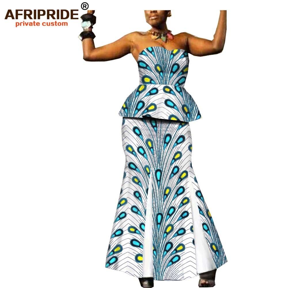2019 أفريقيا جديد أزياء الملابس 2 قطعة تنورة مجموعة للنساء AFRIPRIDE حمالة أعلى + الطابق طول تنورة المرأة مجموعة A1926003-في مجموعات نسائية من ملابس نسائية على  مجموعة 1