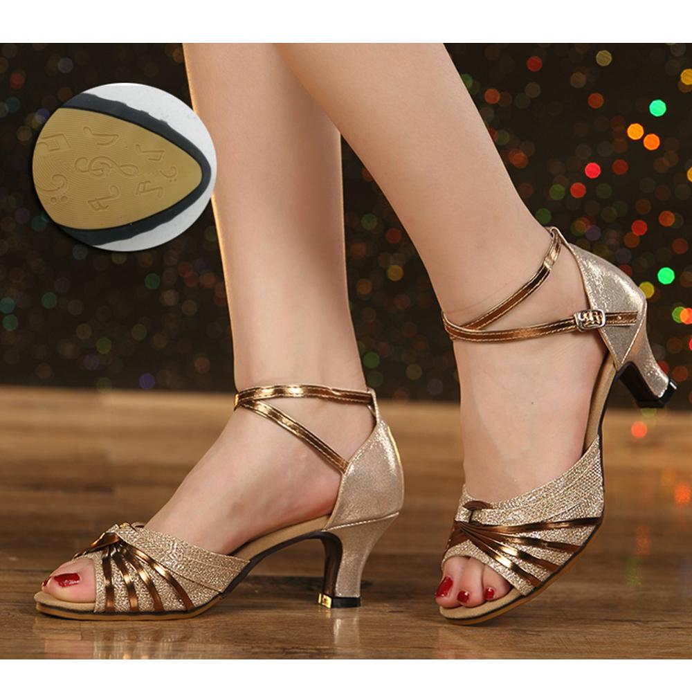 HROYL NEW Hot selling  Modern Dance Shoes Salsa Ballroom Tango Latin Shoes For Girls Ladies open toe dance shoes for women