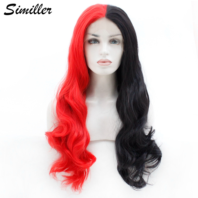 Similler High Temperature Fiber Lace Front Wigs for Women Long Curly Synthetic Hair Red Black Free Part