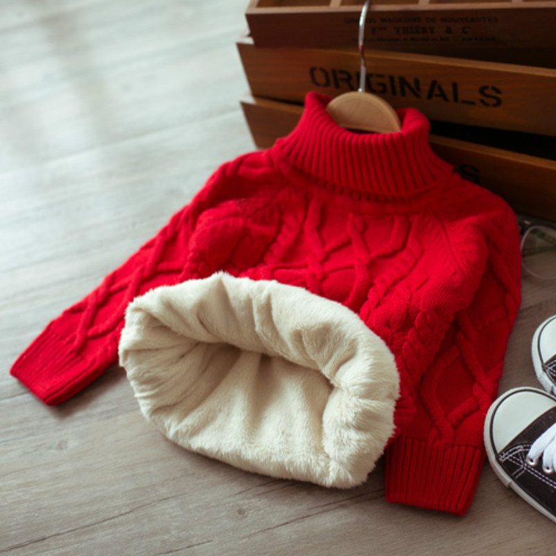 Children Autumn and Winter Warm Clothes Kids Boys and Girls Thick Sweaters Fleece Turtle Neck Baby Girl Sweater 1-5 Years