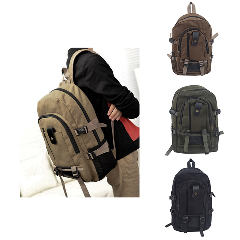 Men Retro Canvas Backpack Large-capacity Schoolbag Outdoor Climbing Solid Color Rucksacks Fashion Casual Travel Sport Bag