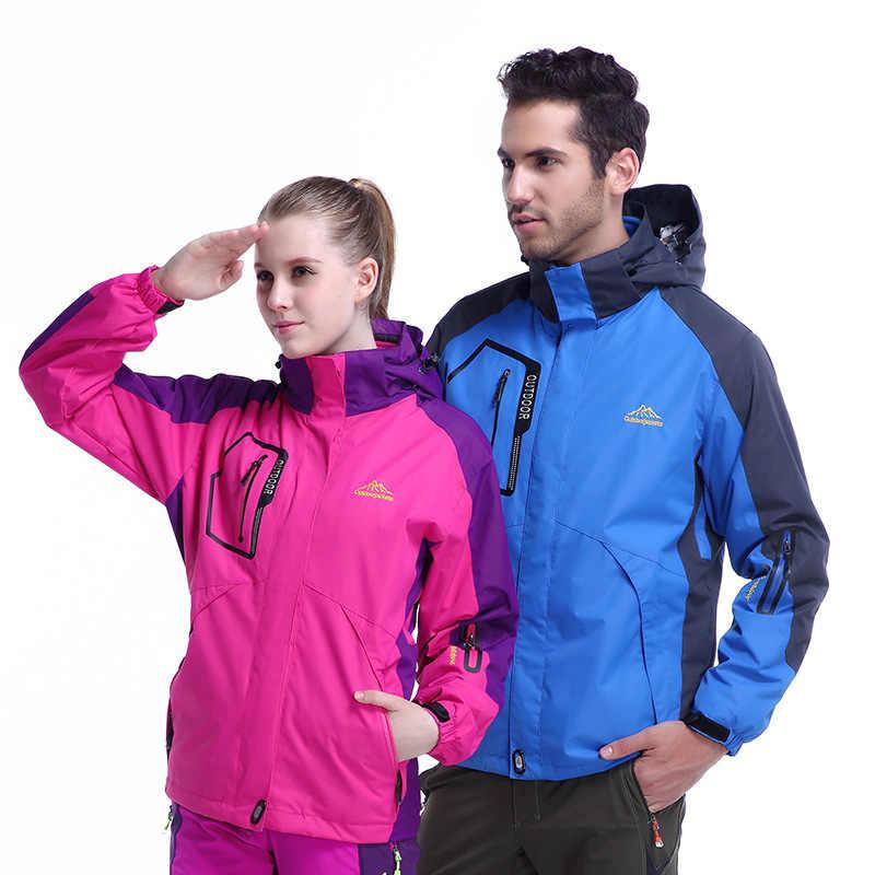Skipak Vrouwelijke Herfst En Winter Regenjas Jas mannen Twee-Stuk Set Drie-in-een Outdoor waterdicht Winddicht Warm Koud Mounta