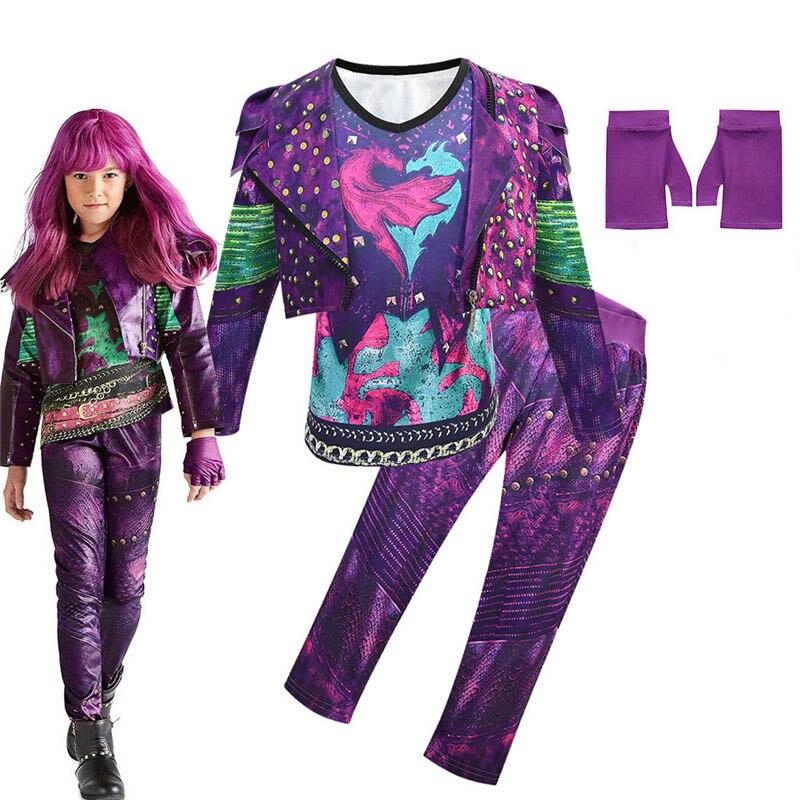 Crianças roupas descendentes 3 evie cosplay traje para meninas casaco colete calças luvas conjuntos 4 pçs festa de halloween roupas para a menina