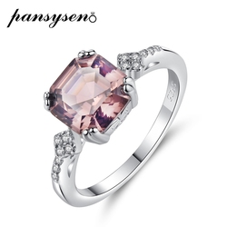 PANSYSEN Solid 925 Sterling Silver 7X8MM Morganite Gemstone Rings for Women Wholesale Wedding Party Finger Ring Drop Shipping